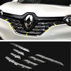 Chromowane tworzywo abs 7 sztuk przednia środkowa kratka wykończeniowa grilla pokrywa dla Renault Kadjar 2016 2017 trim cover grill trimfront grill cover -