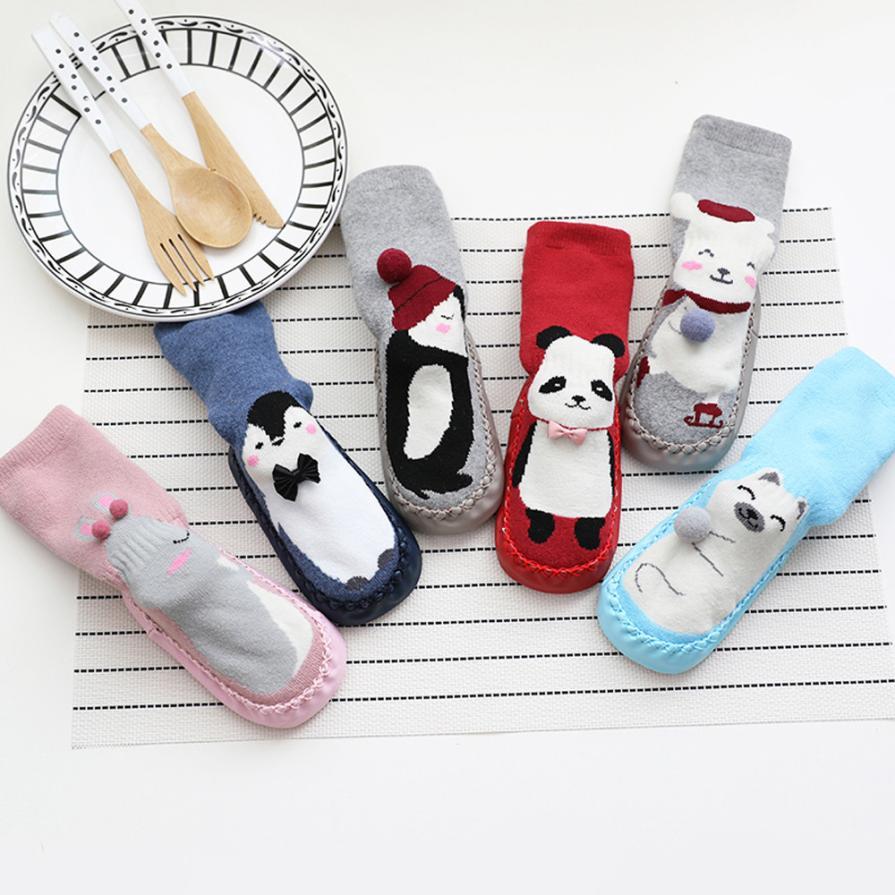 Cartoon Newborn Baby Girls Boys Anti-Slip Socks Slipper Bell Shoes Boots