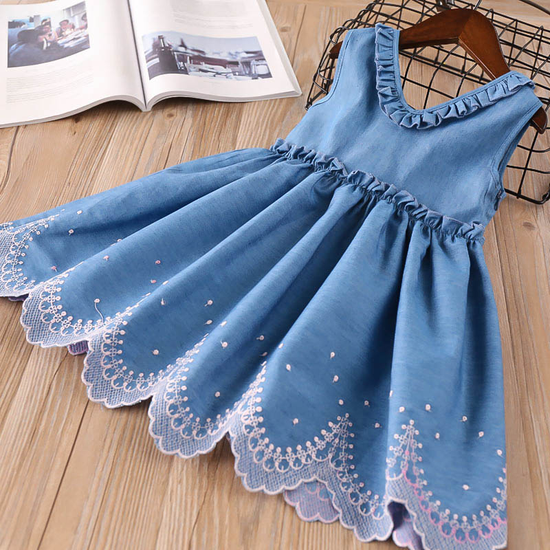 Hurave embroidery princess Baby Girls Clothes Children Sleeveless ruffles v-neck Denim dress solid infant A-line dresses