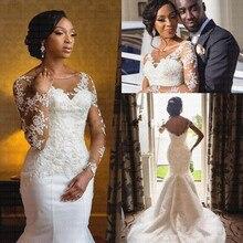 New Arabic Illusion Mermaid Wedding Dresses 2020 Sheer Lace Bridal Gowns Vestido De Novia