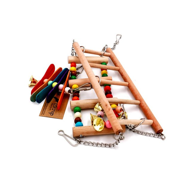 Parrot Toys Birds Ladders Wood Parakeet Toy Parrot Swings Wood Bridge Ladders Perches Stand for Small Birds Cage Accessories 2