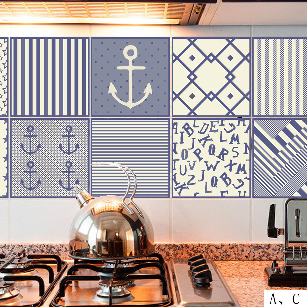 Vintage Tiles Stickers Moroccan Style PVC Waterproof Self adhesive Wall Stickers Furniture Bathroom DIY Removable Tile Sticker in Wall Stickers from Home Garden