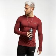Men Sweatshirts Long Sleeve T-shirts Tights Running Jogger Casual Fitness Gym Training Workout Athletic Shirt Sportswear