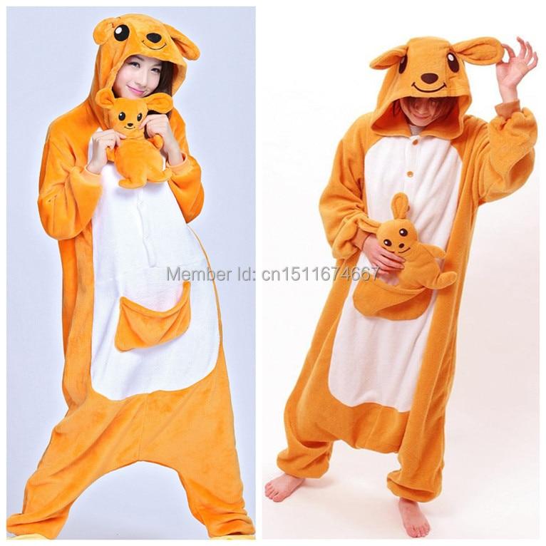 Soft Flannel Cartoon Animal Onesie Pijama Costum Kangaroo (Papuc nu - Costume carnaval