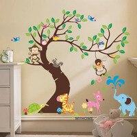 O versizeการ์ตูนสัตว์ลิงบนต้นไม้รูปลอกผนังเด็กสติกเกอร์สำหรับห้อง