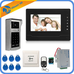 Image 5 - Wired 7inch Monitor Video Door Phone Doorbell Video Intercom Entry System + IR RFID Code Keypad Camera + Remote FREE SHIPPING