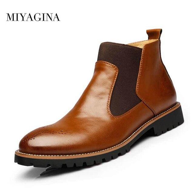 แฟชั่นผู้ชายรองเท้าเชลซีของแท้ Cowhide หนังผู้ชายฤดูใบไม้ร่วงฤดูใบไม้ผลิฤดูหนาวรองเท้าบู๊ต Handmade Plus ขนาดรองเท้าขนาด 38 ~ 46