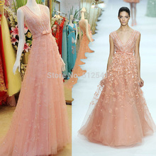 Really Images V Neck A Line Prom Dresses Flowers Beads Sequin Formal Girls Gowns yk1A477