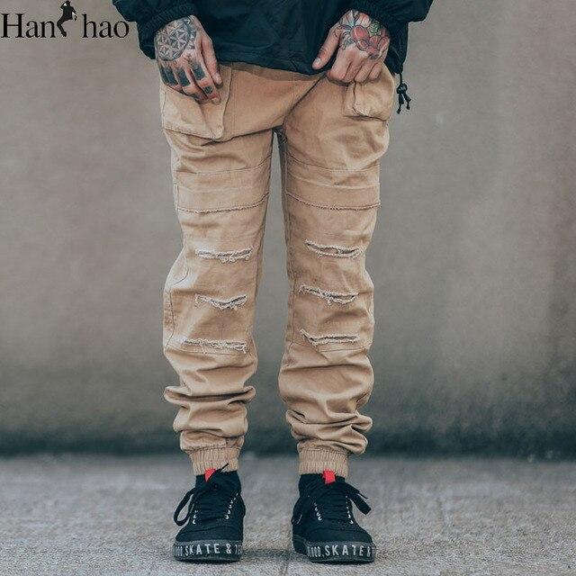 Шнурок Разорвал Джинсы Брюки Мужчины 2017 Новая Мода Прямые Прохладный Jogger Брюки Полная Длина Мужские Брюки 3 Цвета