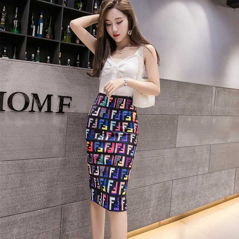 Fashion Spring Summer Style Pencil Skirt Women High Waist Office ladies Bodycon Skirts Vintage Elegant Floral Print Midi Skirt