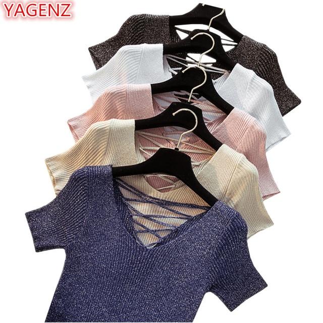 YAGENZ גבירותיי קצר שרוול סוודר נשים חולצות קיץ בגדי סוודר נשים בסוודרים שרוכים קצר דק סרוג סוודר V-צוואר k7