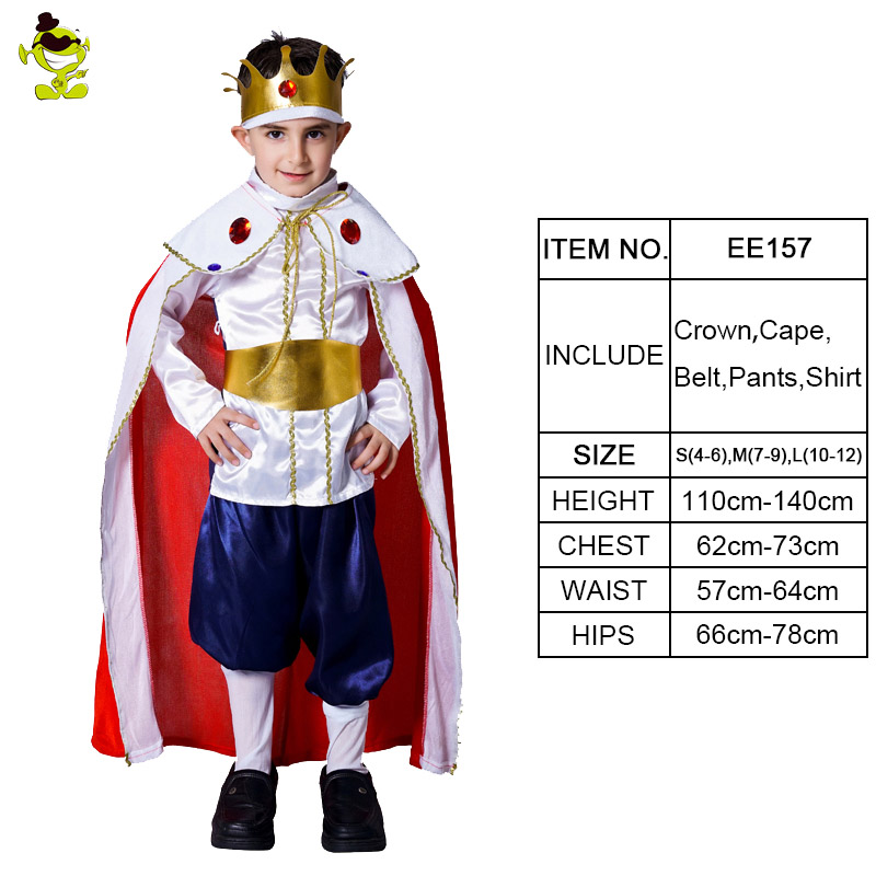 Deluxe King Costume with Crown Boys Carnival Party Charming Prince Cosplay Suits