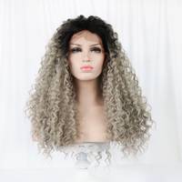 Free Beauty 24'' Long Curly Front Swiss Lace Synthetic Wig Natural Part Bohemian Ombre Dark Root Grey Hair Wigs for White Women
