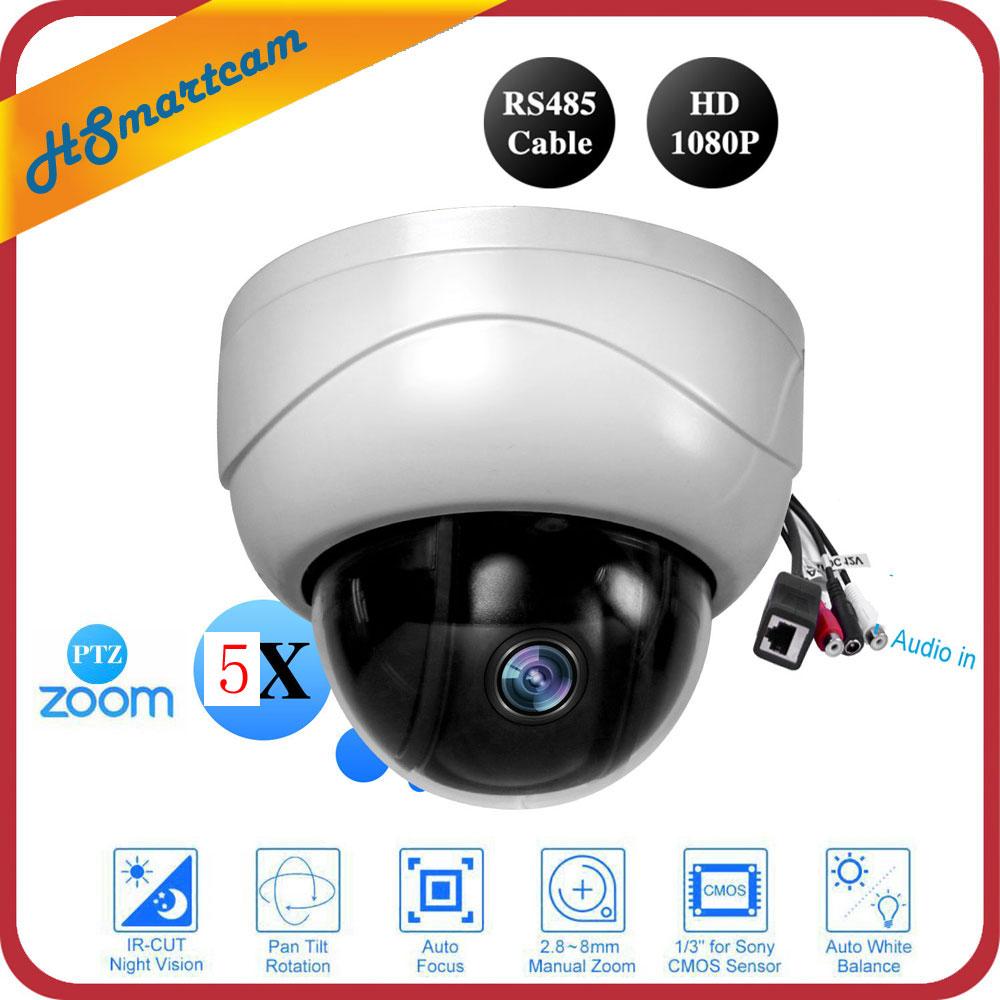 Mini H.265 PTZ IP Camera 5X Zoom Full HD 1080P Indoor Dome Surveillance IR Night Vision Audio Camera For HD NVR CCTV System mini dome camera ip 1080p full hd onvif 5x zoom p2p h 264 h 265 30m ir night vision 2 0 mp poe ip camera add audio microphone