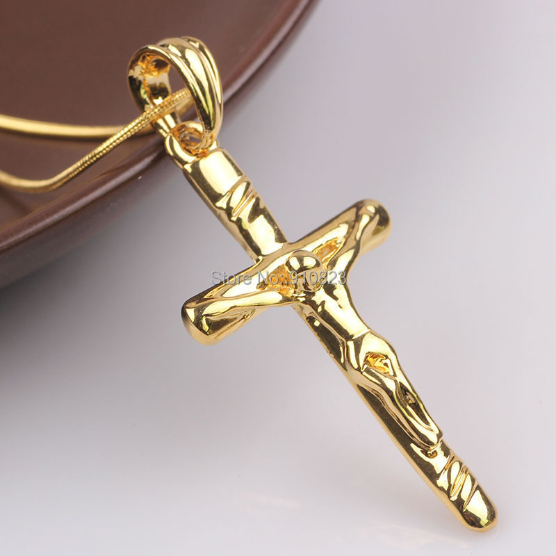 Gift Items For Womens Part - 39: Classic Jesus Crucifix 24k Yellow Gold GF Mens Womens Cross Pendant Chain  Gift ...