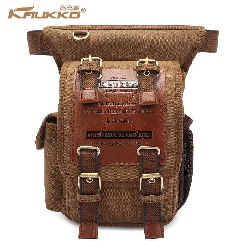 Hot sale kaukko menThick canvas travel shoulder bags vintage unique messenger bags  man cross body bag