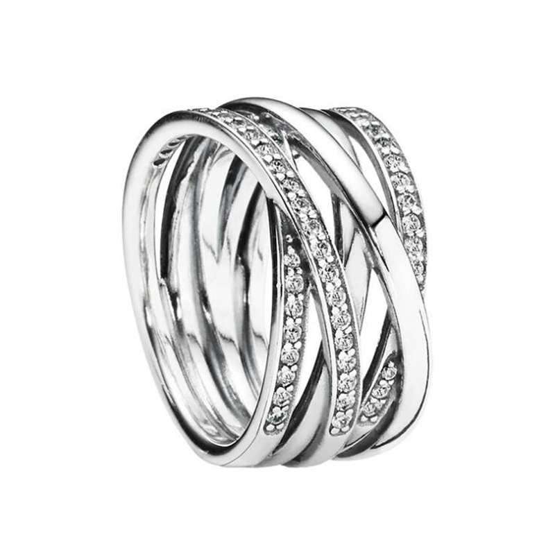 Ruifan High Quality Real 925 Sterling Silver Ring Eternity Entwined Cubic Zircon Rings for Women Girls Jewelry Party Gift YRI121