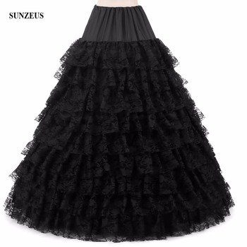 White/ Black/ Pink Ball Gown 6 Hoops Petticoats 9 Layers Tiered Lace Underskirts Long Crinolina Quinceanera Dress BHA066