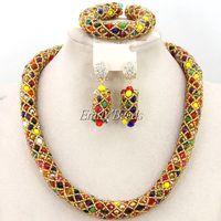 Colorful Nigerian Wedding Beads Jewelry Set 2016 Fashion African Costume Beads Jewelry Set Bridal Jewerly Free Shipping AMJ386