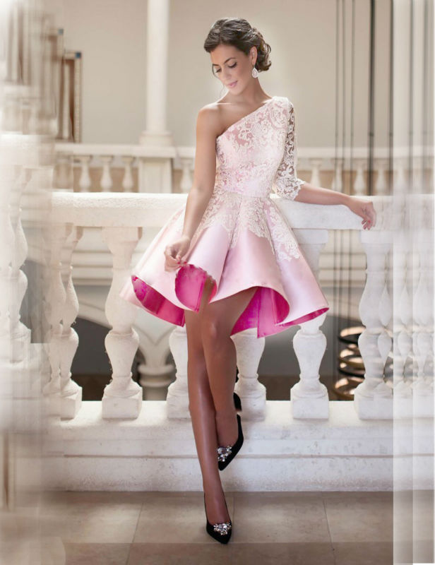 2018 Pink Robe De Soiree Short Vestido Festa Curto Coquetel Prom Ball Gown Lace One Shoulder Mother Of The Bride Dresses