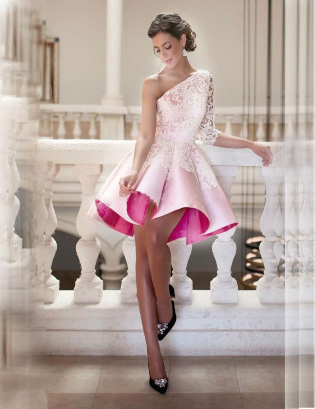 2016 Pink Cocktail Dresses Robe De Noel Short Vestido Festa Curto Coquetel Para Formatura Ball Gown Lace One Shoulder