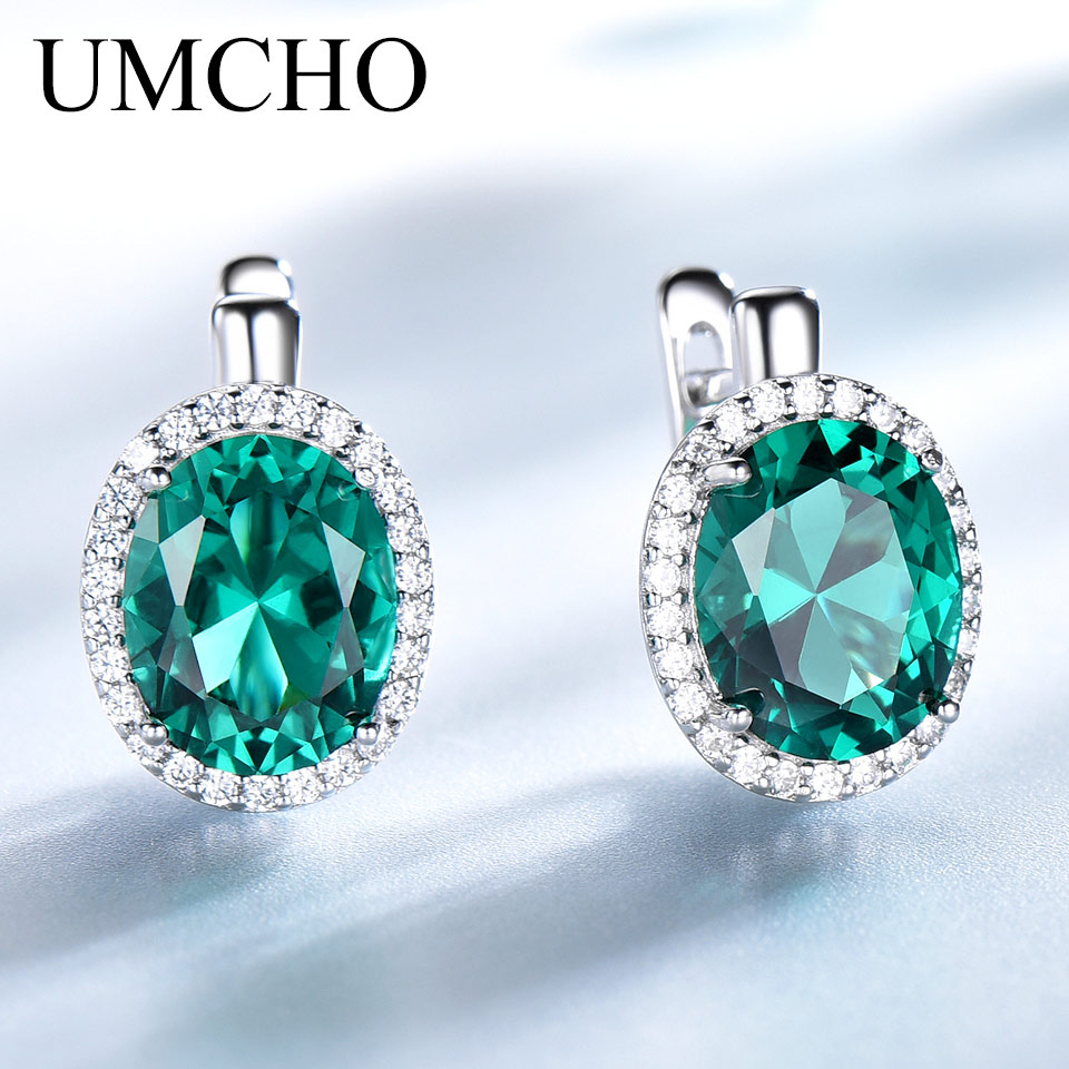 UMCHO Emerald Gemstone Clip Earrings For Women Genuine 925 Sterling Silver Earrings Wedding Anniversary Fashion Jewelry Gift New