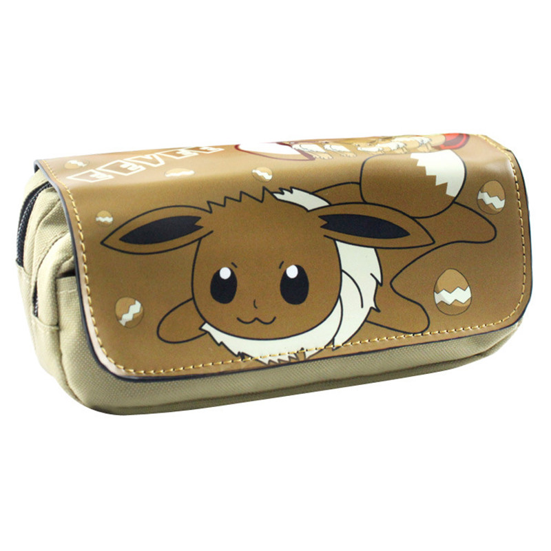 Free Shipping Pokemon Eevee Pencil Pen Case Game Poke Go Cosmetic Makeup Coin Pouch Double Zipper Bag cartoon pencil pen case gravity falls totoro dragon ball zelda adventure time cosmetic makeup coin pouch zipper bag