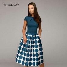 Women casual dress 2019 Spring Summer popular Dot printing vestidos for female Square collor A-line short