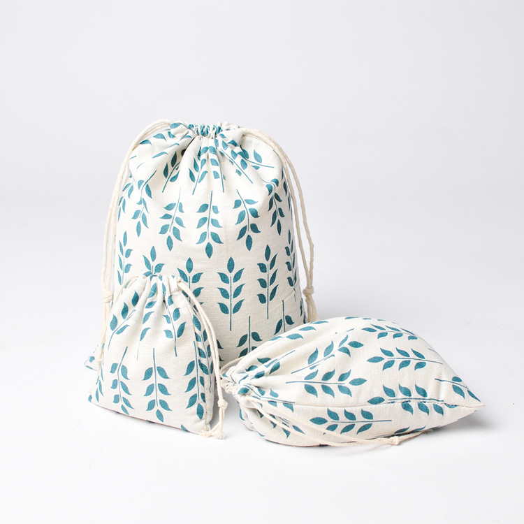 1pc Cotton Linen Drawstring Pouch Party Gift Bag Home Organizer Print Wheat Ear