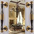 High quality gold bar glass door handle Black office big door pulls two colors zinc alloy home ,KTV/hotel wood door handle 280mm