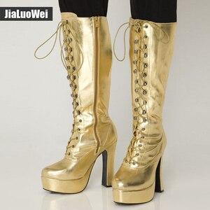 """Image 4 - Jialuowei kobiety 5 """"gruby obcas platforma PU skóra zasznurować kolana wysoka jednolita zamek buty egzotyczne, fetysz, Sexy, buty"""