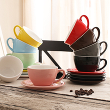 260 ml colorful thick body new bone china latte cups and saucers ,ceramic coffee cup saucer цена и фото