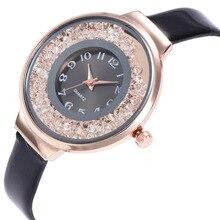 Мода Женева зыбучие пески Relogio цифровой циферблат сплав золота циферблат черный кожаный ремешок женские пары Роскошные Кварцевые часы Для женщин C977