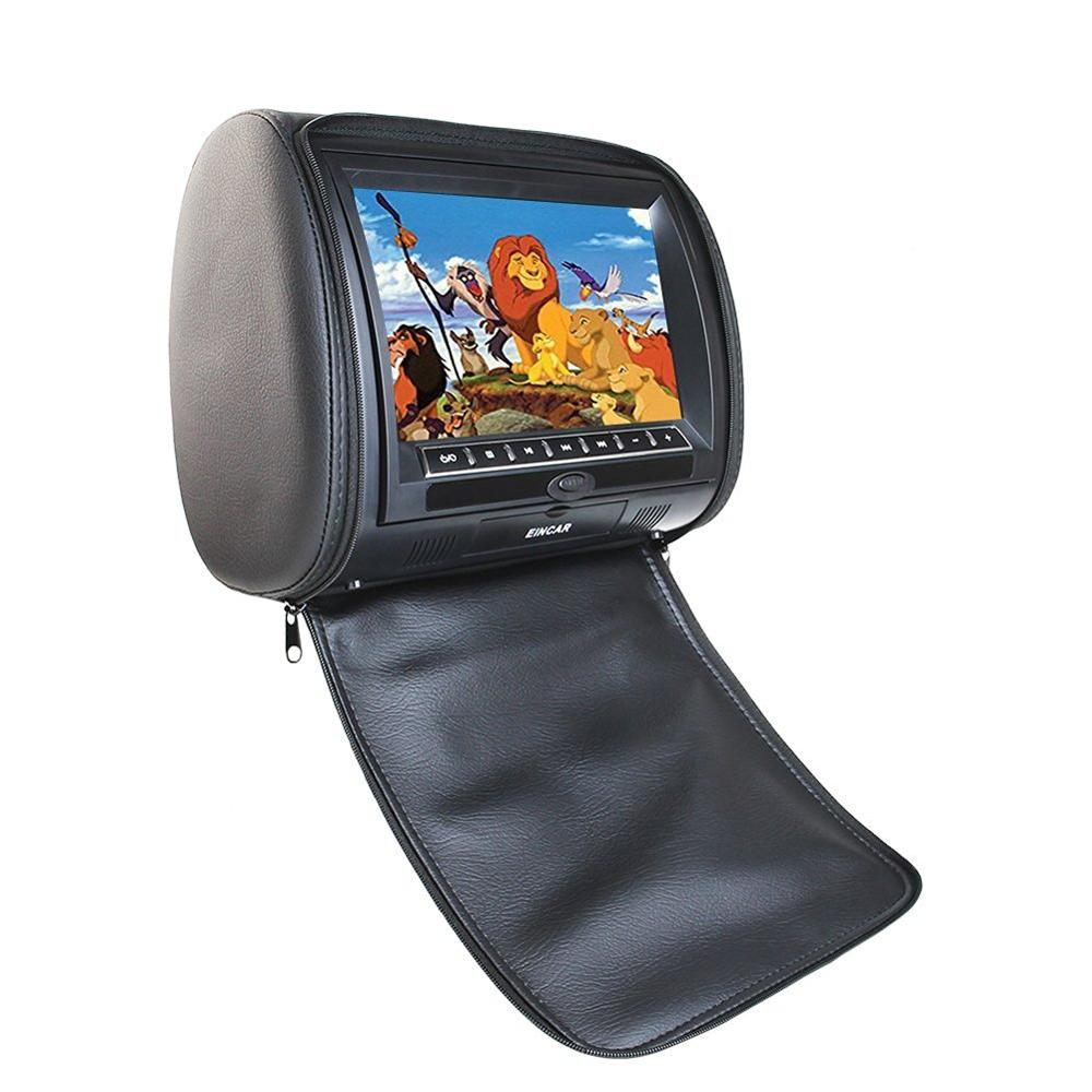 Car Headrest CD DVD Player Eincar Black Universal Digital Screen zipper Car Monitor USB FM TV Pillow Game IR Remote Control eincar car 9 inch car dvd pillow headrest two monitor lcd screen usb sd 32 bit game fm ir multimedia player free 2 ir headphones