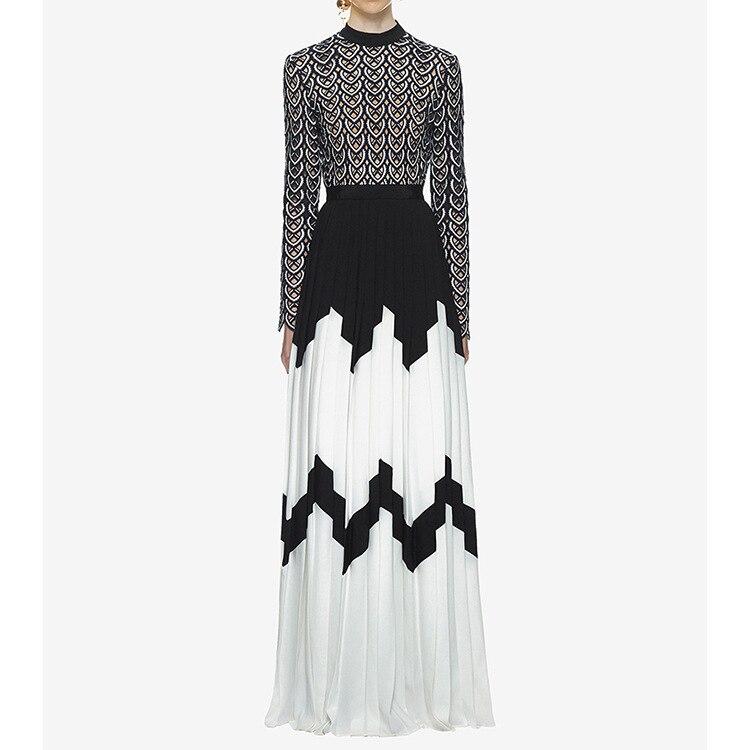 Top qualité à manches longues femmes élégantes robe haute fente mode célébrité soirée Sexy longues robes