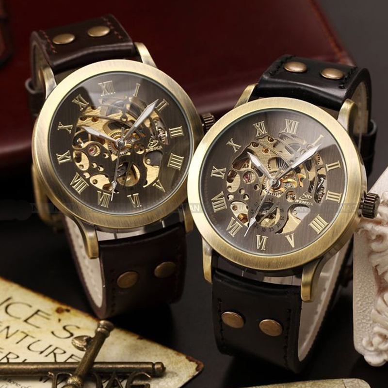 1pc Antique automatic men luxury skeleton watches clock vintage brass gear case rivet Mechanical Wristwatches PU leather  H5