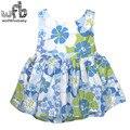 Venta al por menor 2-6 años vestido sin mangas del o-cuello flores azules impresión balón vestido de moda niños de los niños del verano
