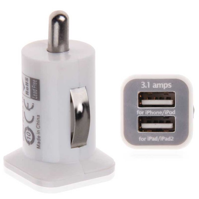 Dual Usb Car Charger Adapter White Double USB Car Charger Cigarette Lighter Charging Accessories For IPhone IPad Samsung Phone
