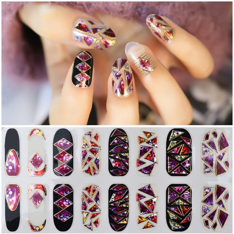 1sheet Fashion Nail Art Sticker 3d Broken Glass Adhesive Nail Decals ...