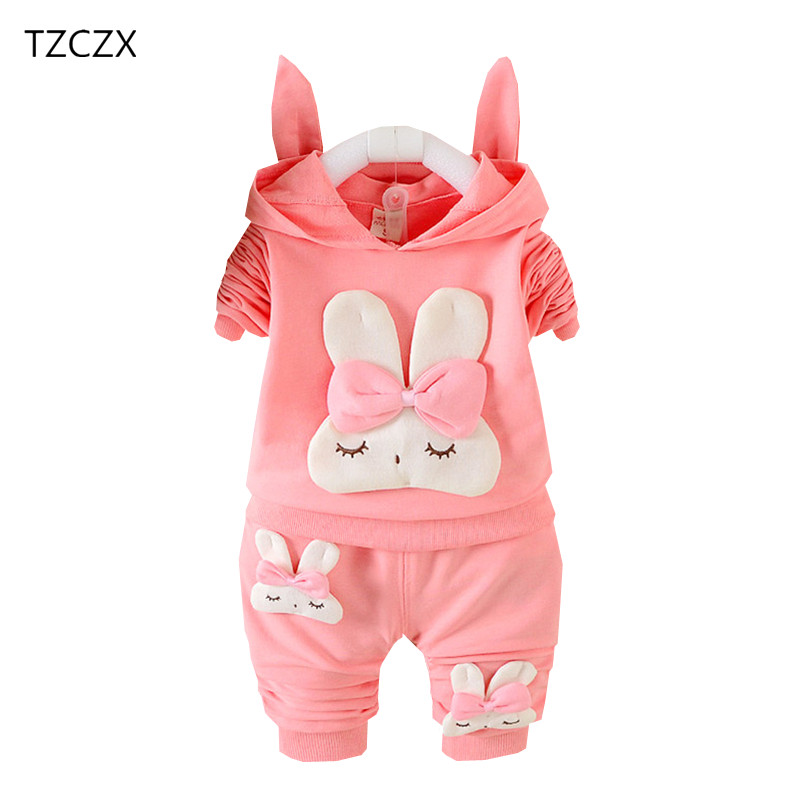 TZCZX New Children Baby Girls Sets Novelty Cartoon Rabbit Hooded Suit For 6 Month to 3 Years Old Kids Wear Clothes kocotree suit for 3 12 years old children unisex cap scarf gloves winter warm three piece sets