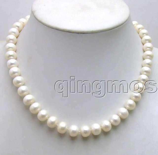 "SALE Super Luster Big 10-11mm High quality Natural WHITE Freshwater Flat ball Pearl 17"" necklace-nec5370 Free shipping"