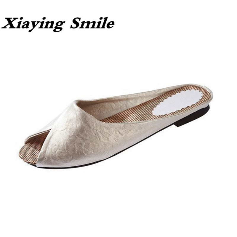 Xiaying Smile Summer Women Slippers Solid Sandals Fashion Leisure Creeper Sewing Slides Slippers Indoor Shoes Peep Toe Flats mnixuan women slippers sandals summer