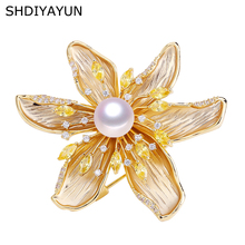 SHDIYAYUN 2019 New Good Pearl Brooch For Women Texture Flower Pins Brooches Natural Freshwater Fine Jewelry Gift