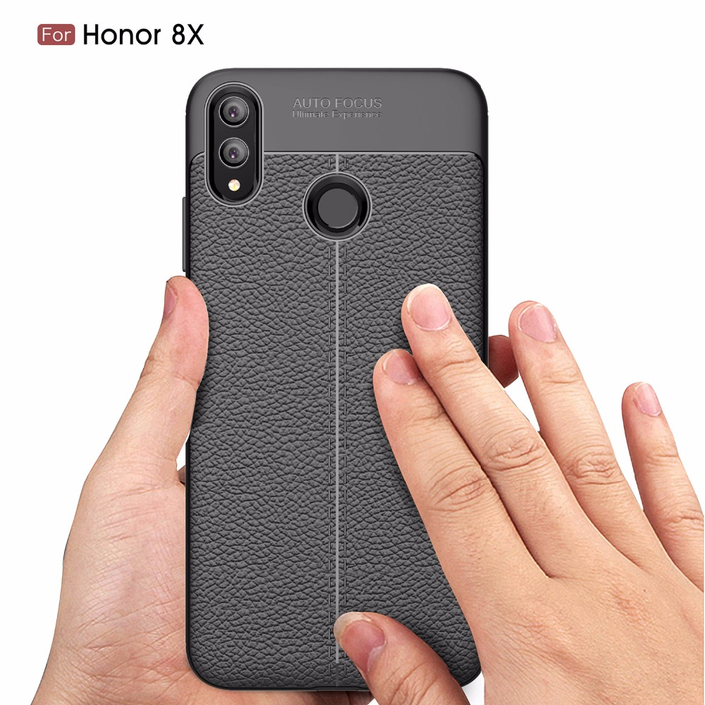 Luxury Rugged Soft TPU Silicone Phone Case For Huawei Honor 8X Max Full Protection Leather Litchi Pattern Shockproof Back Cover in Fitted Cases from Cellphones Telecommunications