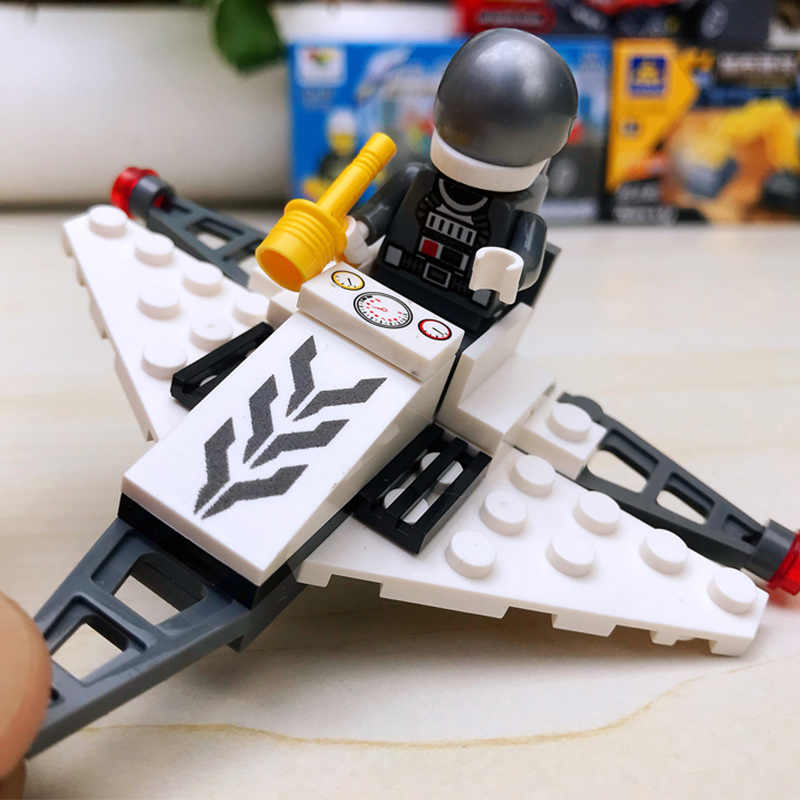 12 Kinds Original Mini Building block combat aircraft helicopter Compatible legoing Duplo City Soliders Police Bricks kits toy