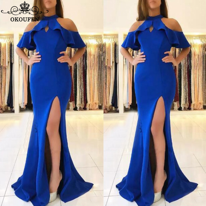 OKOUFEN Sexy Backless Mermaid   Bridesmaid     Dresses   For Women Ruffles Off Shoulder Royal Blue Satin Long Maid Of Honor   Dress   Party