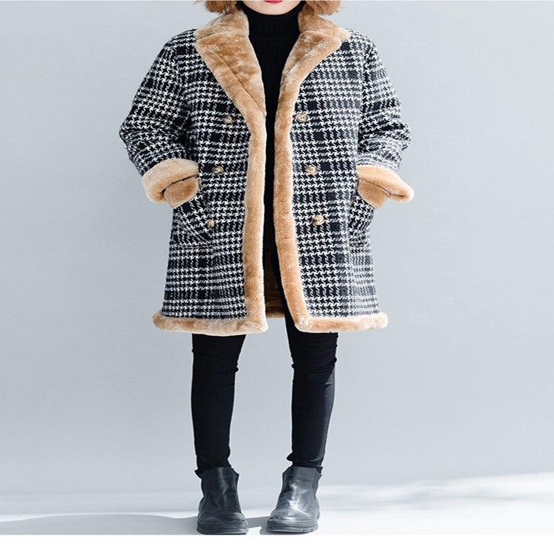 Mode Mélange Survêtement Plaid De Laine 6xl Épaissir Hiver Cachemire En D'hiver Noir Manteau D'agneau 5xl Tranchée Chaud Femmes qw4gxOfp
