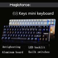 Balck White 68 Key PBT Compact Mini Mechanical Keyboard Kailh Mx Switches Game Magicforce 68 Mini