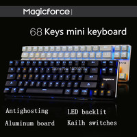Magicforce Smart 68 Keys Backlit Antighosting USB Mechanical Gaming Keyboard Alu Alloy Kailh MX Blue/Black Switches Double PCB