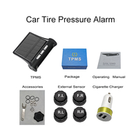 Solar Power Wireless Auto TPMS Alarm Warning With 4 Sensors BAR PSI LCD Display Vehicle Car Tire Pressure Monitoring System
